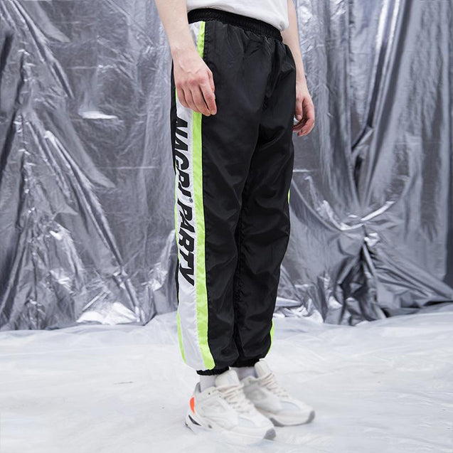 Retro sports colorblock print pants