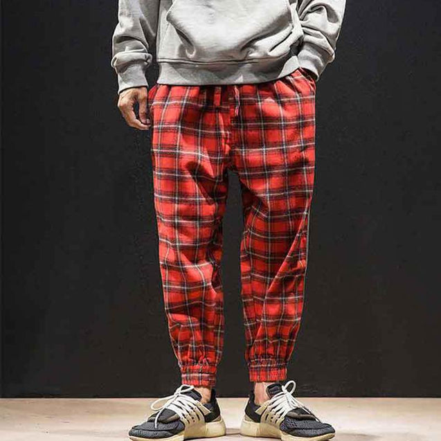 Men'S Middle Waist Plaid Splicing Casual Pants