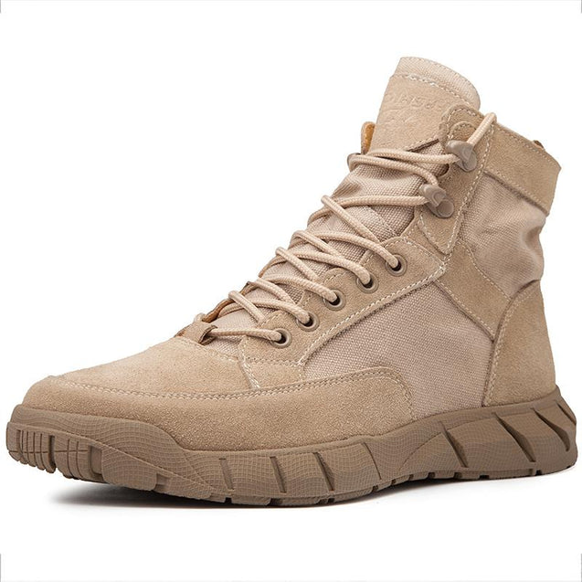 Men's casual solid color lace canvas boot