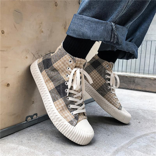 Casual men's grid lace-up high-top canvas shoes