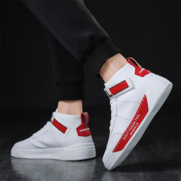 Men's fashion color matching letters printed high-top sneakers