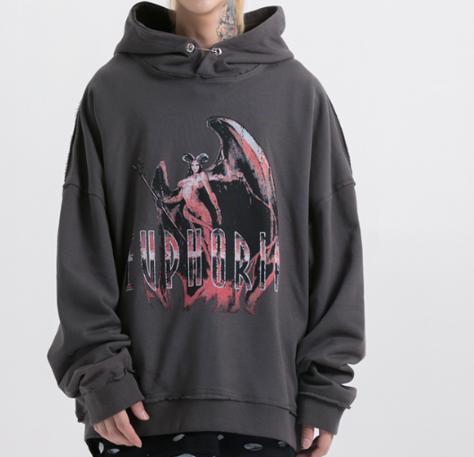 Fashion Letter Printed Loose Hooded Sweatshirt