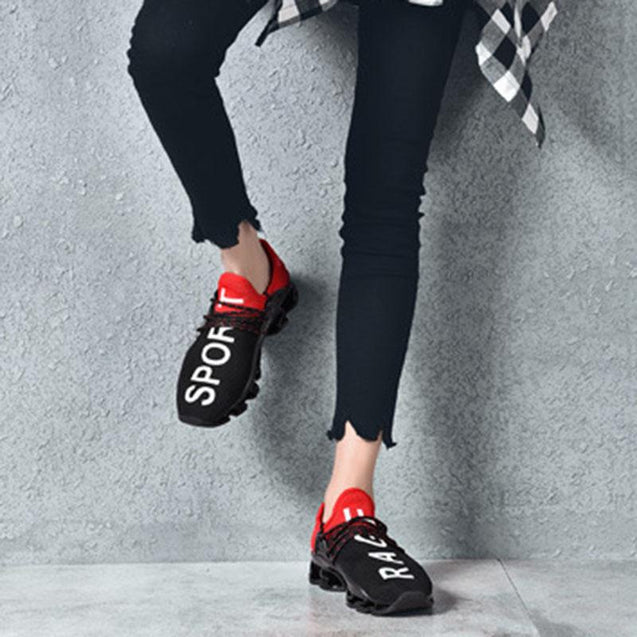 Sportive breathable letter mixed color lovers sneakers