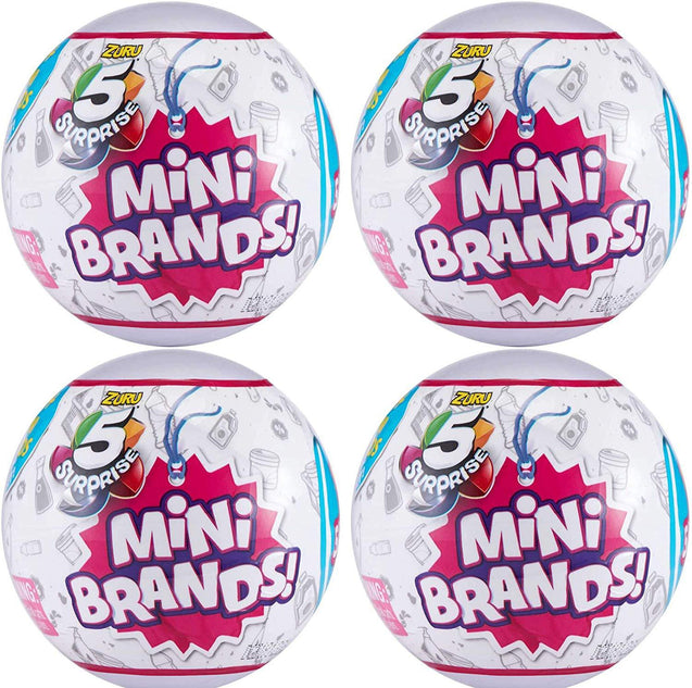 Zuru 5 Surprise Mini Brands Collectible Capsule Ball - 4 Ball Bundle