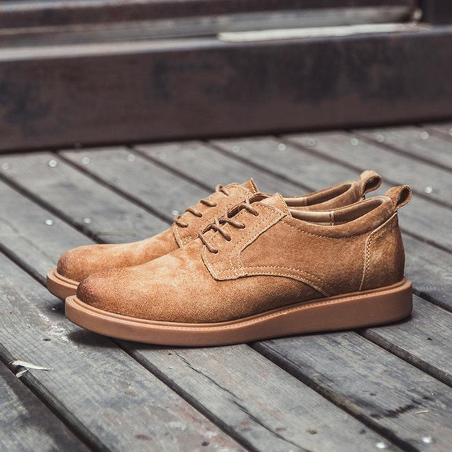 Men's casual solid color lace-up flats