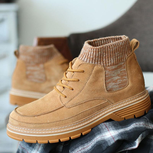 Mens fashionable suede lace-up Martin boots