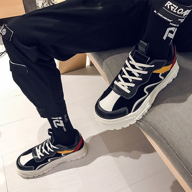 Men's fashion color matching striped platform sneakers
