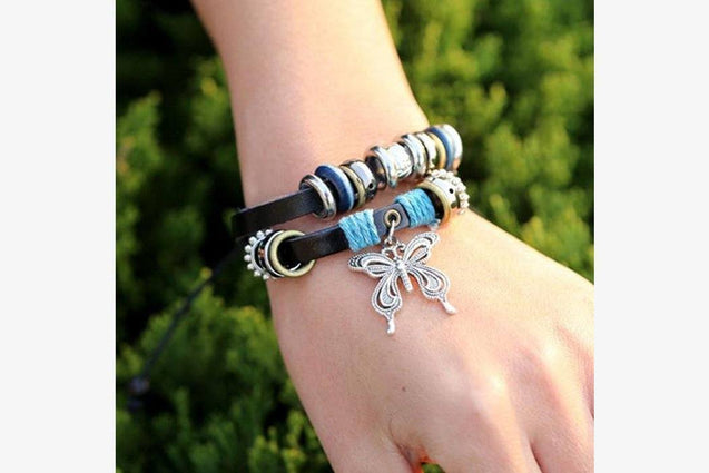 Fashionable Butterfly Leather Charm Bracelet