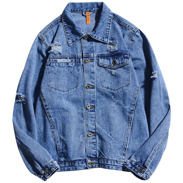 Casual Abrasion Denim Men's Jacket