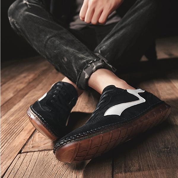 Round Head Leather Men Pigskin Breathable Casual Shoes