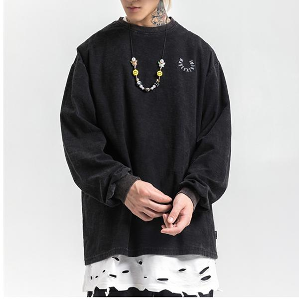 Punk Smiley Print Long Sleeve Men's Round Neck Top