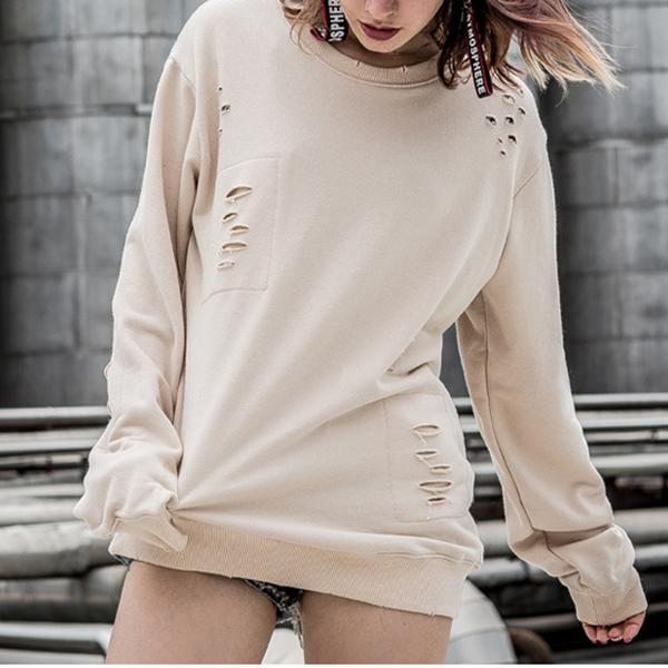 Personality Street Patch Hole Sweater Pullover