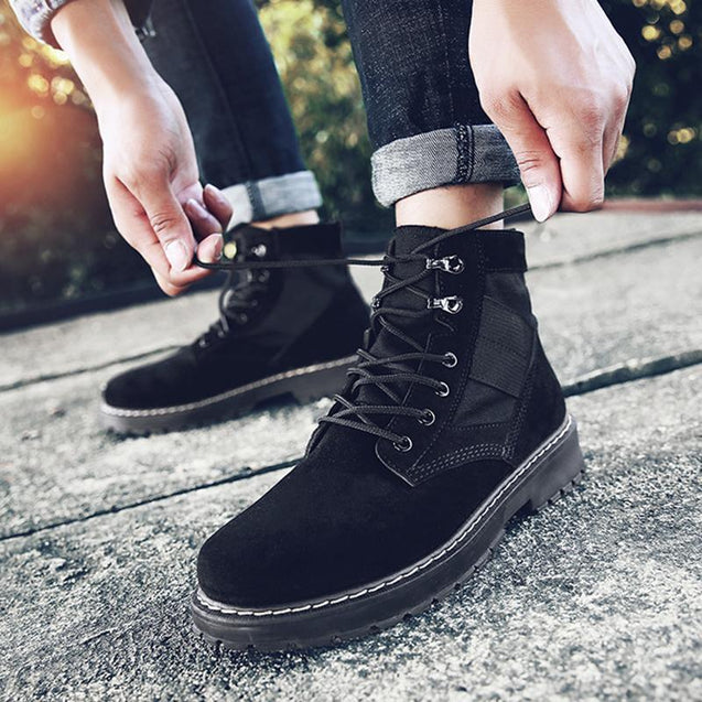 Fashion Men's Splicing Lace-Up Round Toes Martin Boots
