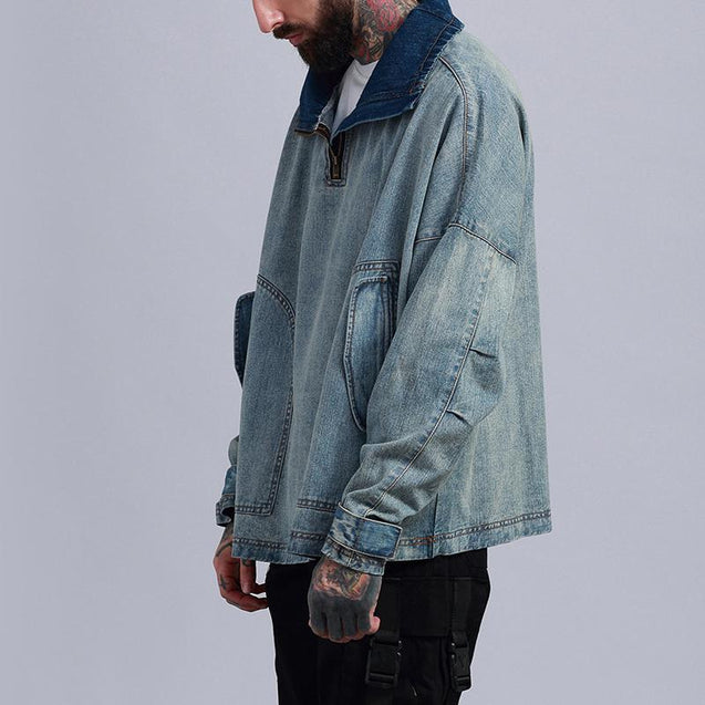 Vintage Denim Pure Color Men's Jacket