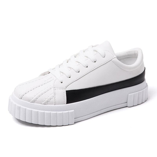 Men's casual color matching shell head platform sneakers