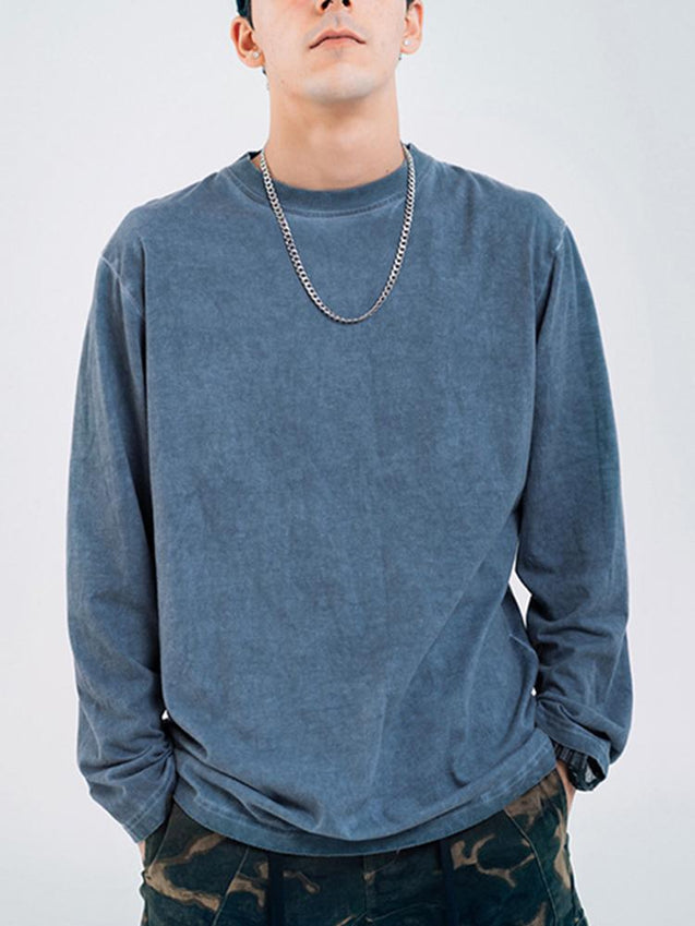 Casual Round Neck Long Sleeves Solid Colour T-shirt