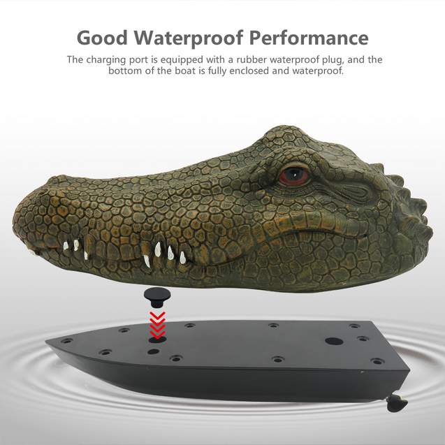 🔥(FREE SHIPPING) Flytec V002 RC Boat 2.4G Remote Control Electric Racing Boat with Simulation Crocodile Head Spoof Toy