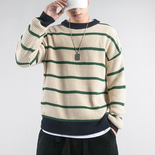 Casual Knit Sweater With Poly-neck Stripes And Contrast Colors