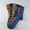 Indian Totem Jacquard Medium Cotton Men's Socks - 3 Pairs