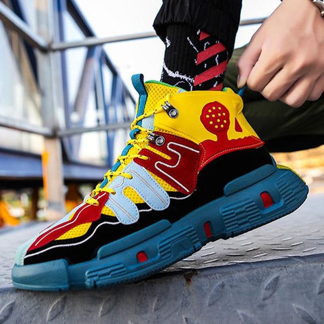 Sportive style men's stitching mixed color sneakers