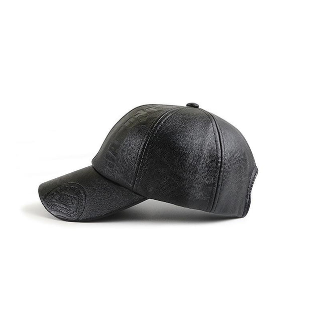 Fashion unisex pu leather embossing logo baseball cap