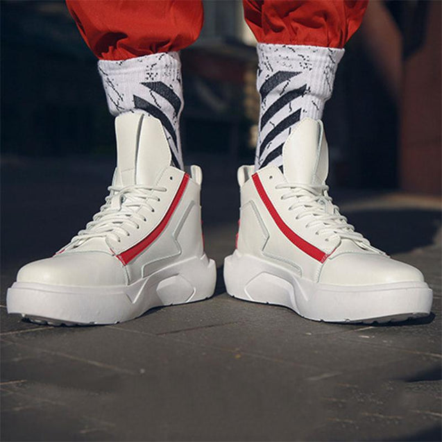 Hip pop lace-up mixed color high-top sneakers