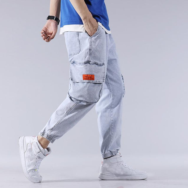 Men'S pure color big-pocket Harun's pants