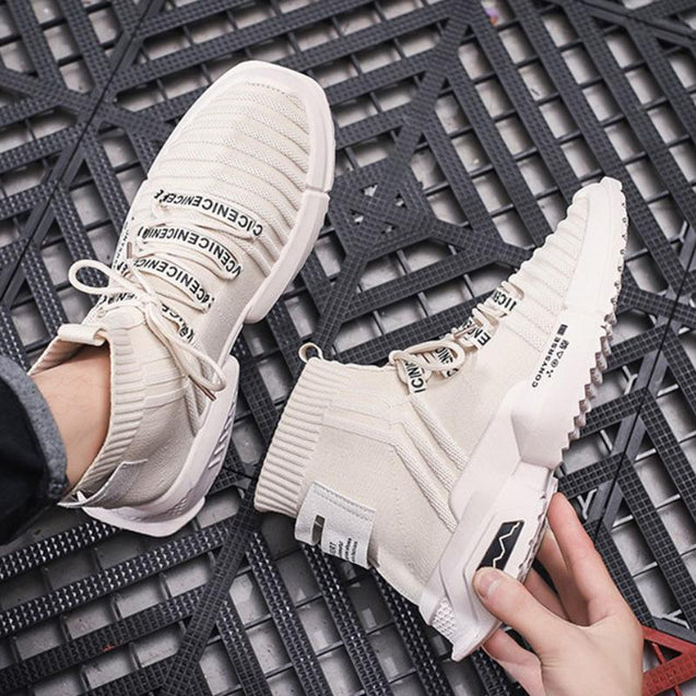 Fashion High-top Round Toe Letters Breathable Sneakers