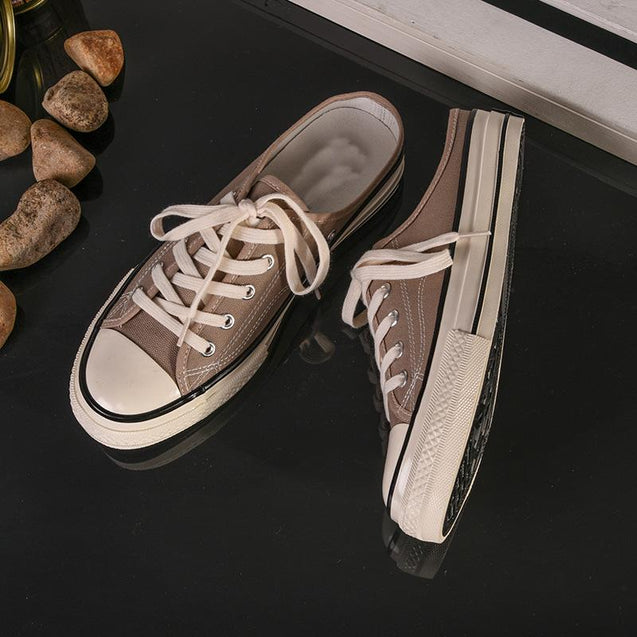Men's fashion solid color canvas lazy sneakers