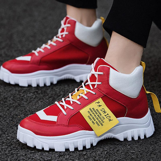 Casual men's breathable mixed color platform sneakers