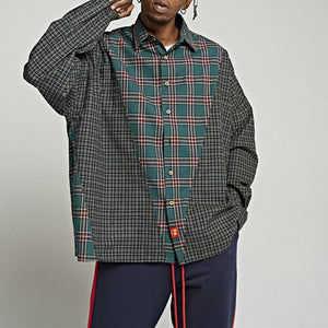 casual plaidloose patchwork long sleeves shirt