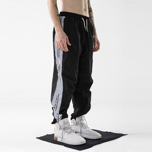 Reflective stitching letter printed casual pants