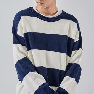 Simple casual round neck loose wide striped sweater
