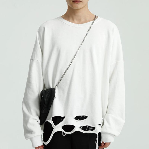Fashion Casual Round Neck Hole Pullover Sweater