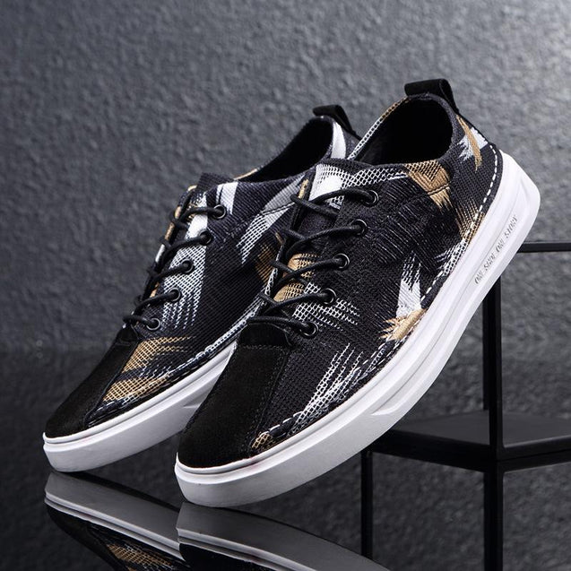 Fashion men's breathable mixed color low-heel sneakers