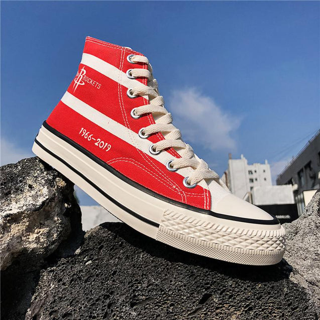 Men's fashion solid color striped print high-top sneakers