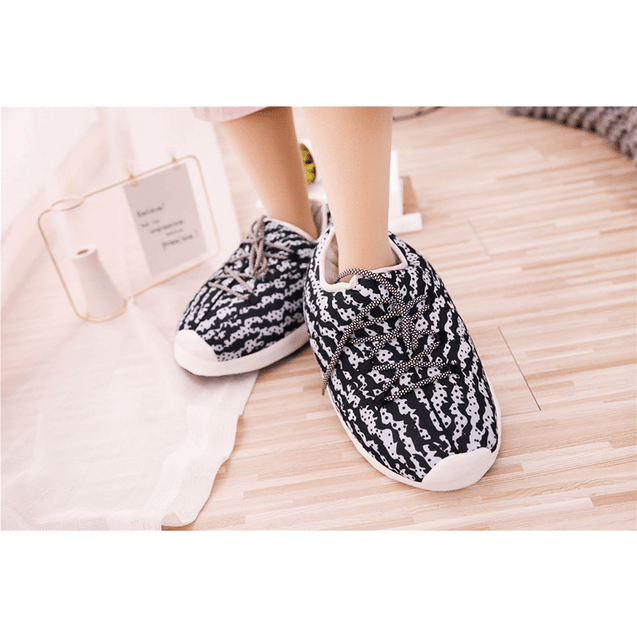 Unisex Comfy Fuzzy Knit Cotton Memory Foam House Shoes