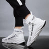 Men's fashion solid color flying fabric high-top sneakers