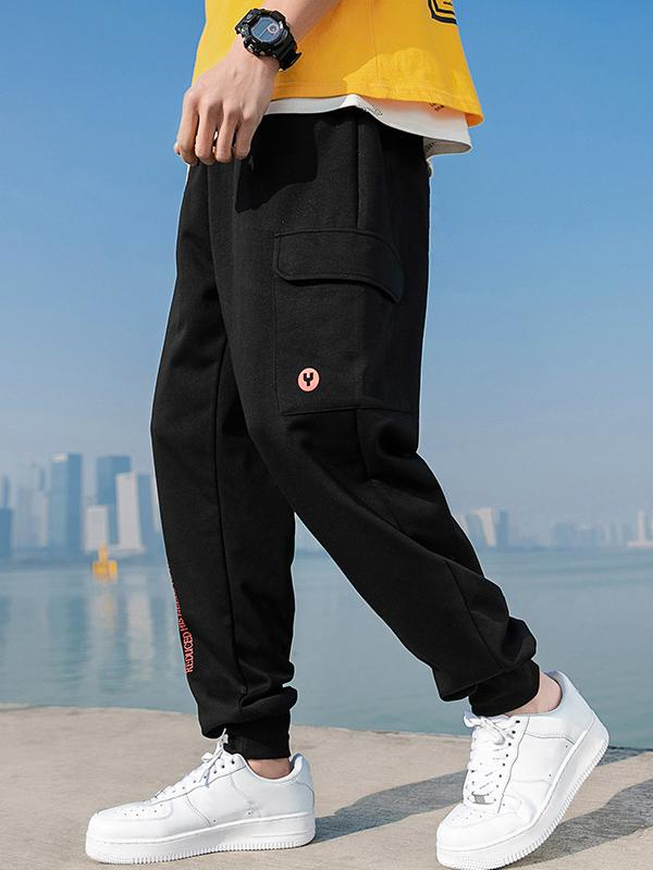 Mens stitching oversize feet sports long pants YD14