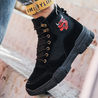 Men's fashion solid color cow head embroidery sneakers
