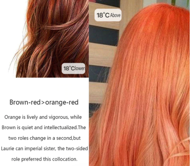 Hair Dye Change color with cool or hot temperatures.