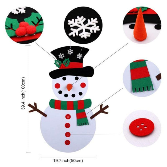DIY Felt Christmas Snowman Set - Children's Favorite Gift - Free Shipping!