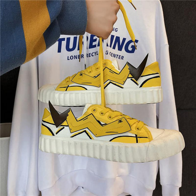 Casual Harajuku style decorative patch couple sneakers