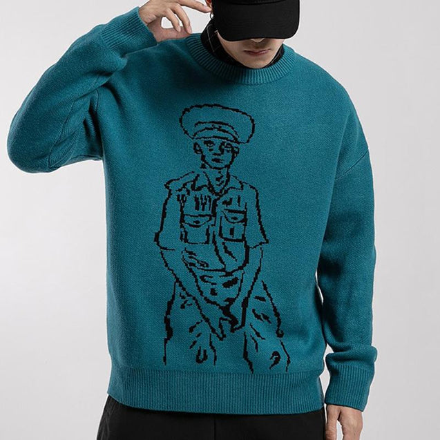 Mens Fashion Round Neck Printed Colour Sweater