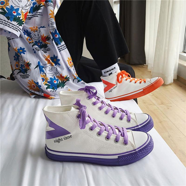 Fashion color matching Harajuku style couple high-top sneakers
