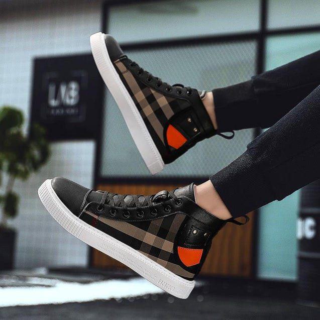 Men's Middle Help Breathable Personality Plaid Casual Shoes