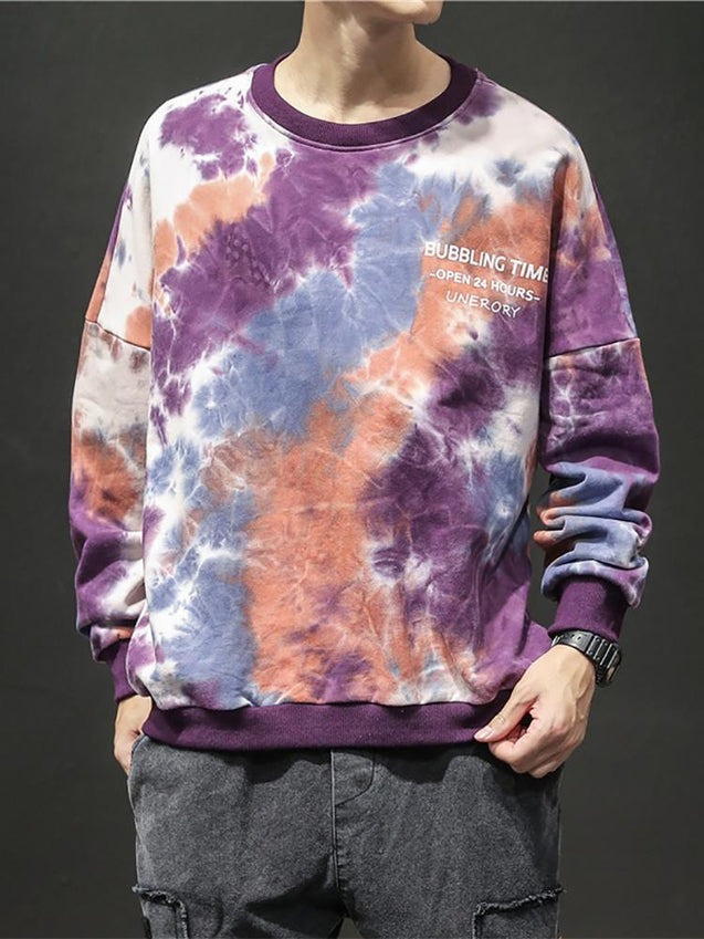 Casual Men's Tie-Dyed Pullover Sweater