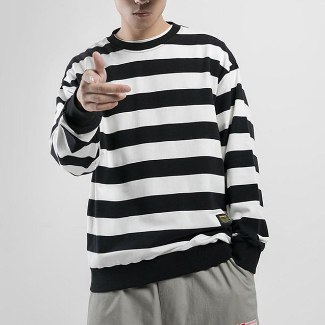 Men's Casual Round Neck Striped Long Sleeve Loose Top