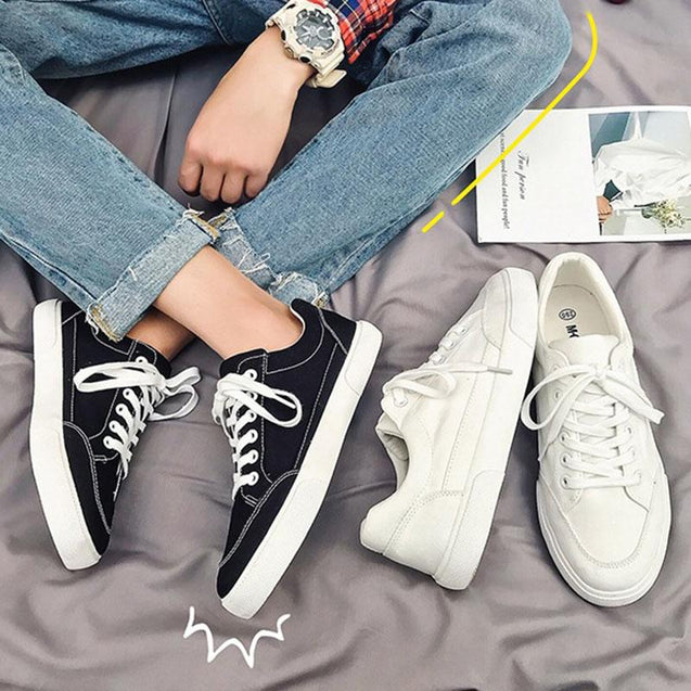 Casual basic round-toed pure color lovers canvas shoes