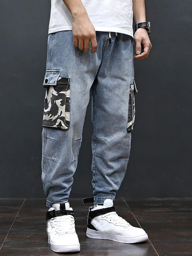 Casual Men'S Multi-Pocket Splicing Jeans